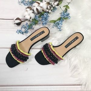 Zara Black Beaded Fringe Heeled Mules Size 38
